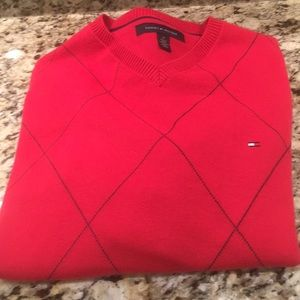 Tommy Hilfiger Red Patterned Sweater